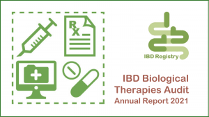 An infographic of biological treatments next to the IBD Registry logo and title of the report.